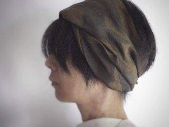 ターバンなヘアバンド カモフラージュ ブラウン系 送料無料の画像