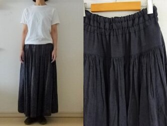 【受注制作】天日干しリネン ヨーク切替ギャザースカートの画像