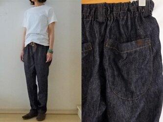【受注制作】濃紺/インディゴリネンデニム ゆるりパンツの画像