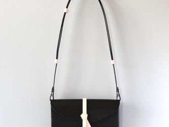 折りショルダーウォレット #黒xベージュ / ori shoulder wallet #black x beige 長財布の画像