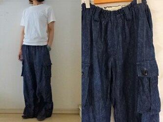 【受注制作】濃ブルー/インディゴリネンデニム カーゴワイドパンツ〈S・М・Lsize〉の画像