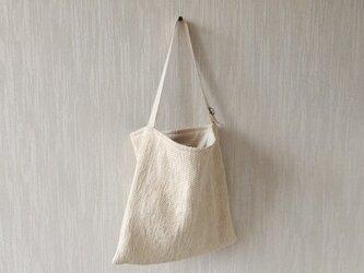裂き織りのぽってりツーウェイバッグ バニラの画像