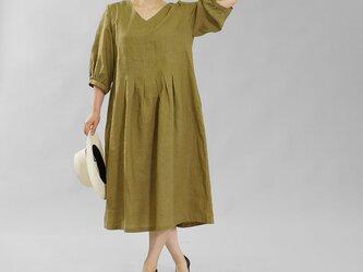 【wafu】薄地 雅亜麻 リネン ワンピース ふんわりスリーブ Vネック タック ドレス / 黄橡色 a062h-kib1の画像