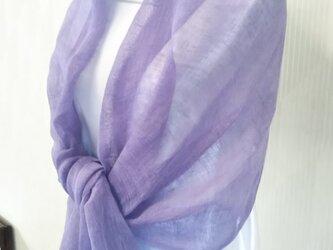 紫根染 リネン 大判 ストールの画像