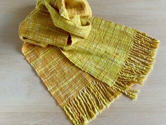 太陽の香り 絣のストール 手織り コットンの画像