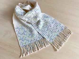 空とライムのストール 絣 手織り コットンの画像