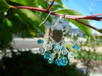 海の泡ブルーさびにくいステンレス製ワイヤーピアスまたはイヤリングの画像