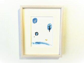 「遠い記憶」 イラスト原画 ※木製額縁入りの画像