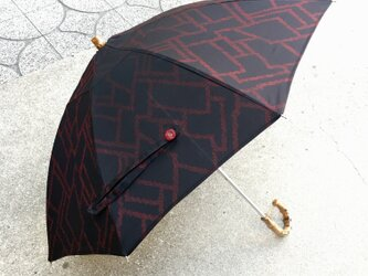 伸縮日傘とケース  正絹本番泥大島紬 着物リメイク 11の画像