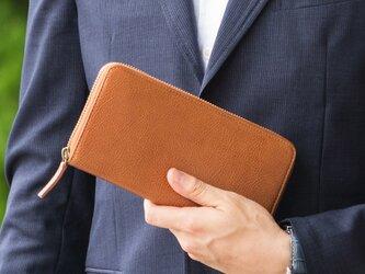 【イタリアンレザー】 牛革 「ラウンドファスナー長財布」 GK-001の画像