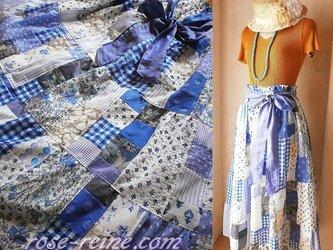 Dreamin' Blue 絵画なパッチワーク 超ボリューム ティアードスカート サラサラ裏地付の画像