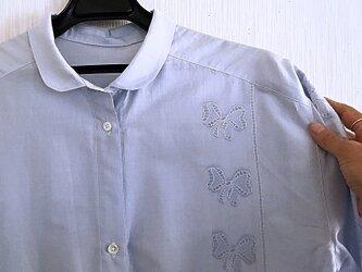 リボン織生地のチュニックワンピースの画像