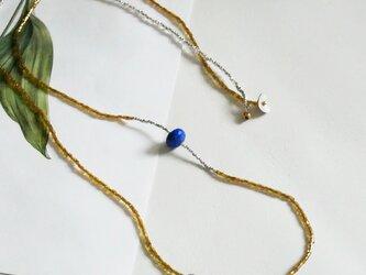 ラピスラズリ×ハーキマーダイヤモンド×ヴィンテージビーズ・ロングネックレス n1349の画像