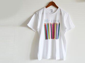 """新作!おとな用 """"色えんぴつ"""" Tシャツ メンズサイズ ホワイト おそろいコーデでおでかけ♪ の画像"""