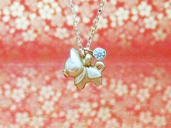 小さくて可愛らしい張り子犬とダイヤ0.1ctのK18YGペンダント < HARIKOINU【張子犬(はりこいぬ)】>の画像