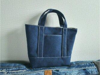 ヴィンテージ加工ブルー帆布のトートバッグSの画像