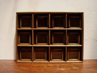 標本箱と棚のセット小型正方形12個。の画像