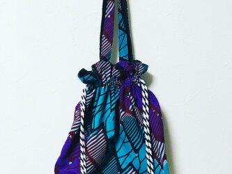 アフリカンプリント 巾着バッグ(小)の画像