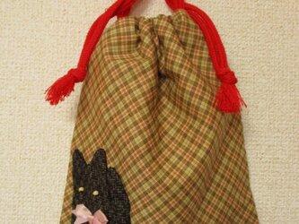 古布招き猫付き袋物の画像
