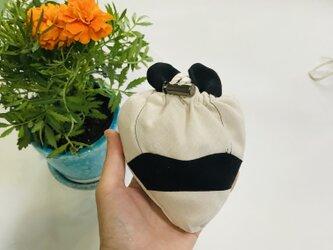 KIDS80-100 リネン100% パンダの巾着ポッケのスモック  グレージュの画像