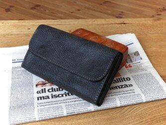 イタリアンレザーの長財布/ロングウォレット/チャコールグレーの画像