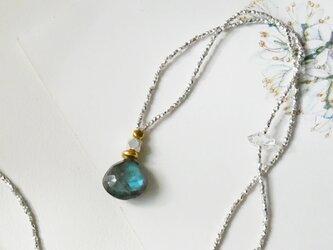 ラブラドライト××ハーキマーダイヤモンド・シルバービーズネックレス n1350の画像
