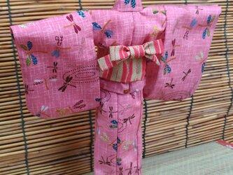 27cmドール浴衣 桃色とんぼの画像