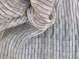 ■手織り/極々細リネン生成りストールの画像