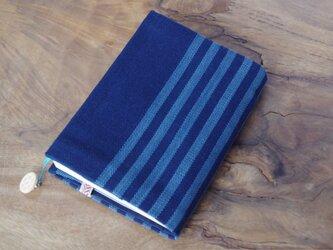 藍色手織り しましまブックカバー① 栞+ボタン付き 文庫本サイズ(調整できます) の画像