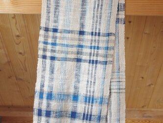 藍×草木染めコットンマフラー③ 細めのラインのチェック柄 中幅(幅30㎝×長さ176㎝)の画像