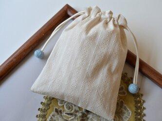 アンティーク調アイボリーレース・スワロフスキー 巾着袋の画像