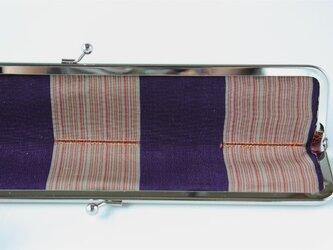 個性的な革のスマートな扇子入れ ブラウンのクロコダイル型押し×アンティーク着物の画像