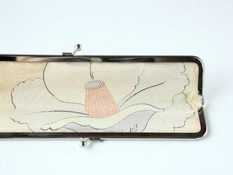 上質レザーのスマートな扇子入れ アイボリーのカーフ(子牛革)リザード型押し×アンティーク着物の画像