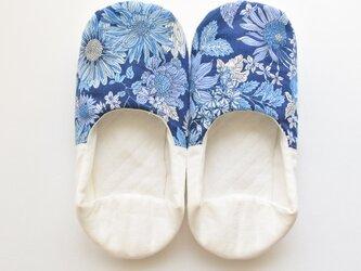 ルームシューズ バブーシュ スリッパ 夏の花 ブルー・ネイビー・ホワイト コットン リネン Aの画像
