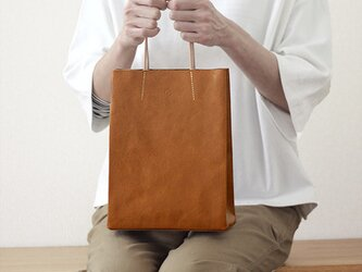 大人の革袋 S・キャメル ・ポケット付[受注製作品]の画像