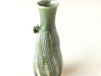 緑釉櫛目カタツムリ一輪挿し 徳利の画像