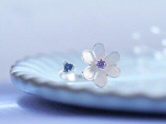 アジサイ color) 紫&青 フラワー リング シルバー925の画像