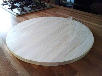 お値下げ 青森ヒバ 大きくて丸いまな板 50Φ 寄せ木 天板にもの画像