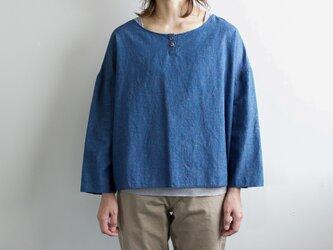 indigo cotton linen/pullover shirtの画像