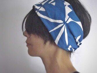 ターバンなヘアバンド ブルーリーフ 送料無料の画像