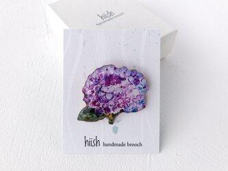 紫陽花のブローチ(紫/ボックス入)の画像