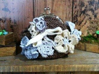 花盛り がま口 06 茶色 ~ レース編み 編み物 タティングレースの画像