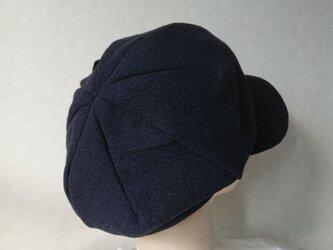 魅せる帽子☆ふんわり♪ピンタックと飾りボタンのリバーシブルキャスケット~ネイビーの画像
