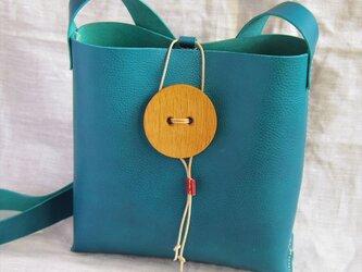 【人気】【受注生産】おっきな木のボタンのショルダーバッグ(テールグリーン)の画像