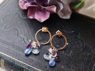 【14kgf】紫陽花~カイヤナイトとブルーストーンピアスの画像