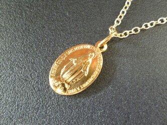 フランス奇跡のメダイのネックレス - gold chainの画像