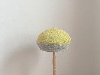麻とコットンのベレエ帽・circle_ reverseの画像