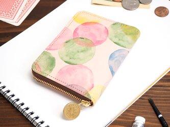 ラウンドファスナー コンパクト財布(シャボン玉)牛革  小さい ILL-1145の画像