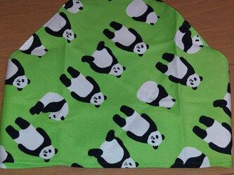 ハンドメイド 大人用三角巾 パンダ柄 黄緑の画像