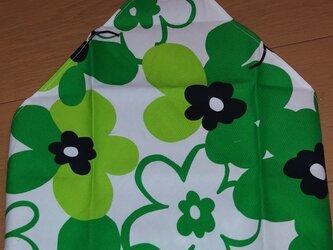 ハンドメイド 大人用三角巾 大花柄 緑 の画像